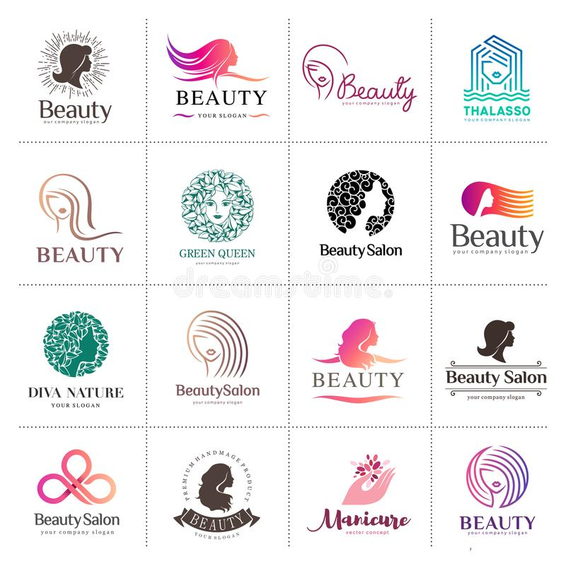 Duży wektorowy logo ustawiający dla piękno salonu, włosiany salon, kosmetyk ilustracja wektor
