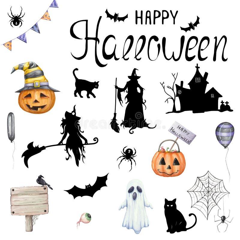 Duży wektorowy ustawiający ilustracje dla Halloween ilustracja wektor