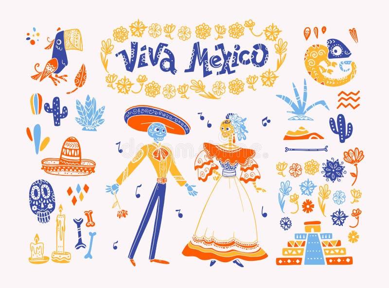 Duży wektorowy ustawiający Mexico elementy, zredukowani charaktery, zwierzęta w płaska ręka rysującym stylu odizolowywającym na b ilustracja wektor