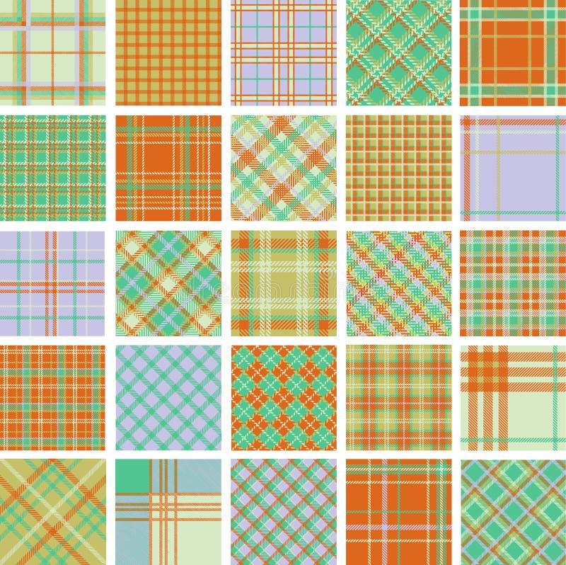 duży wzorów szkockiej kraty set ilustracja wektor
