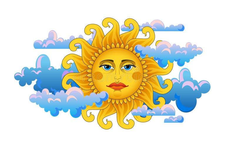 duży złocisty gorący słońce royalty ilustracja
