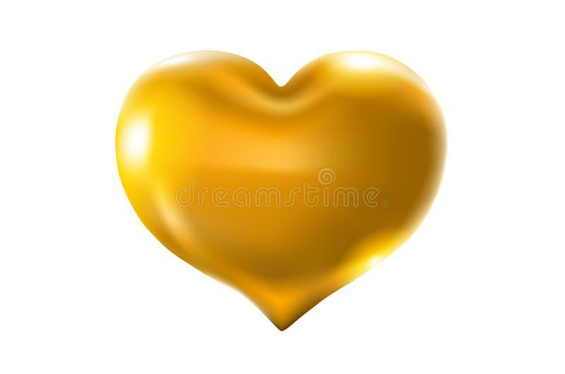 Duży złoty serce na białym tle wektorowy świętowanie szybko się zwiększać błyskotliwość 3d Ilustracyjny projekt dla twój kartka z ilustracji