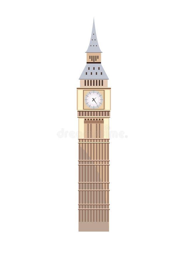 Duży zakazu wierza Londyn Odosobniona ilustracja na białym backgr fotografia stock