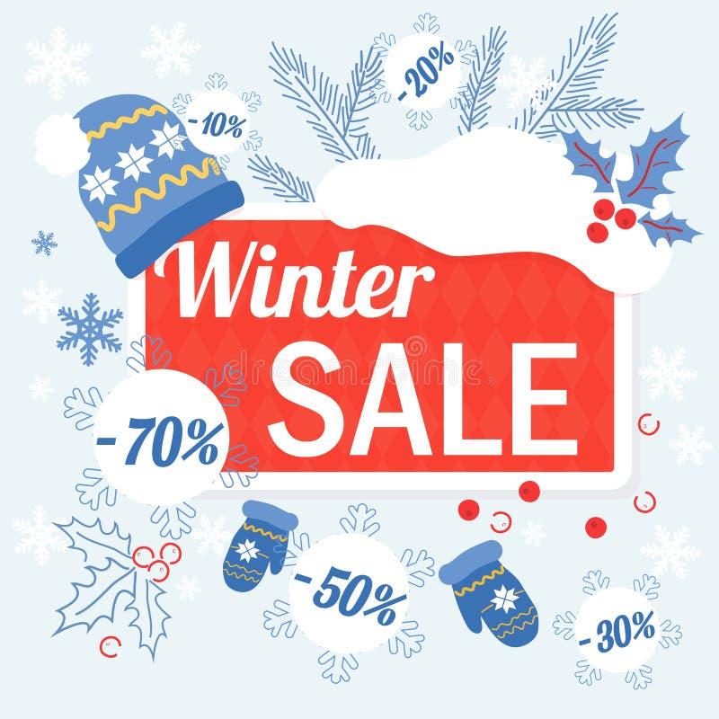 Duży zim bożych narodzeń sprzedaży projekta szablon z kapeluszem, glowes i sprzedaży etykietek rabatem, royalty ilustracja