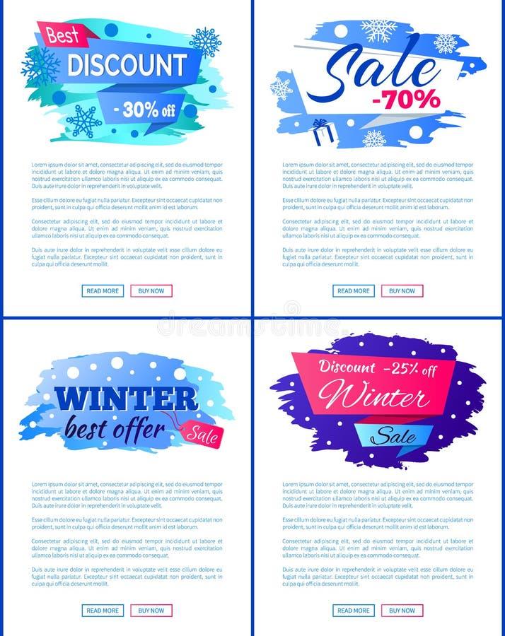 Duży zimy sprzedaży rabat Z Nowych oferta plakatów Ustawiających ilustracja wektor