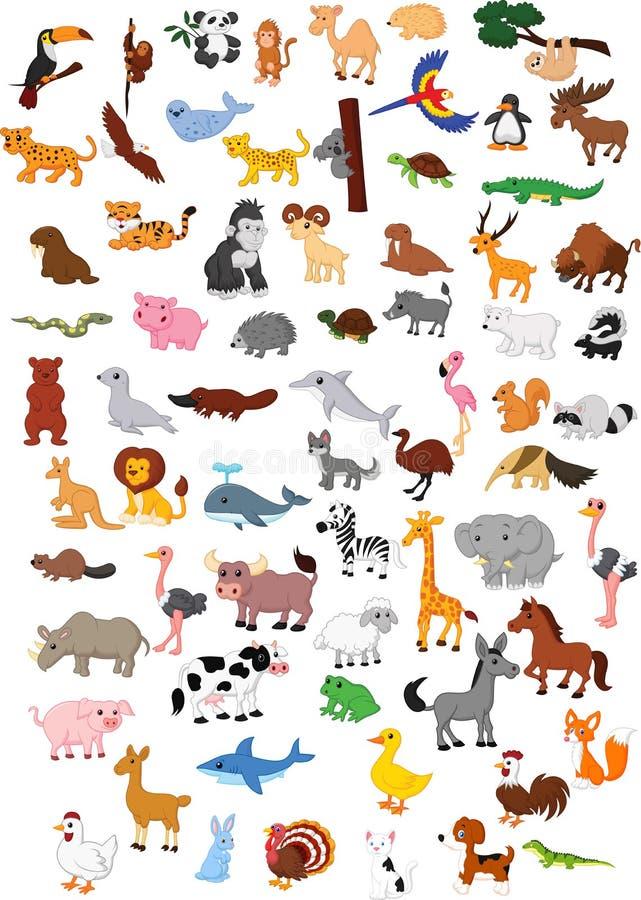 Duży zwierzęcy kreskówka set royalty ilustracja