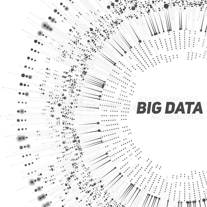 Dużych dane grayscale kółkowy unaocznienie Futurystyczny infographic Ewidencyjny estetyczny projekt Wizualna dane złożoność ilustracja wektor