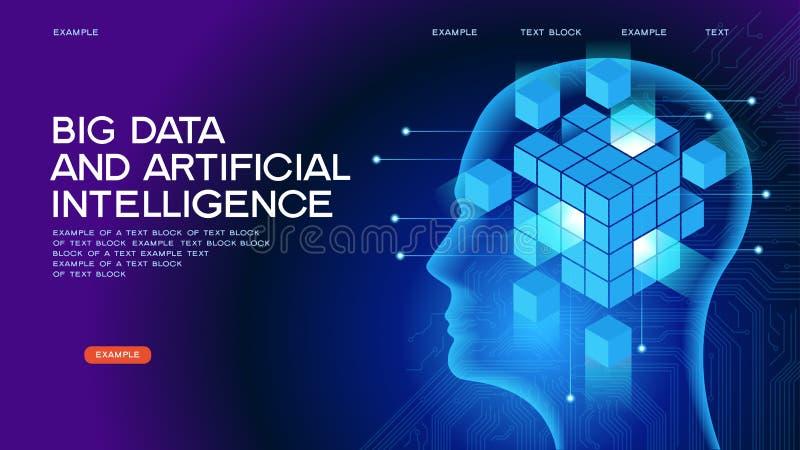 Dużych dane I sztucznej inteligenci sieci sztandar royalty ilustracja