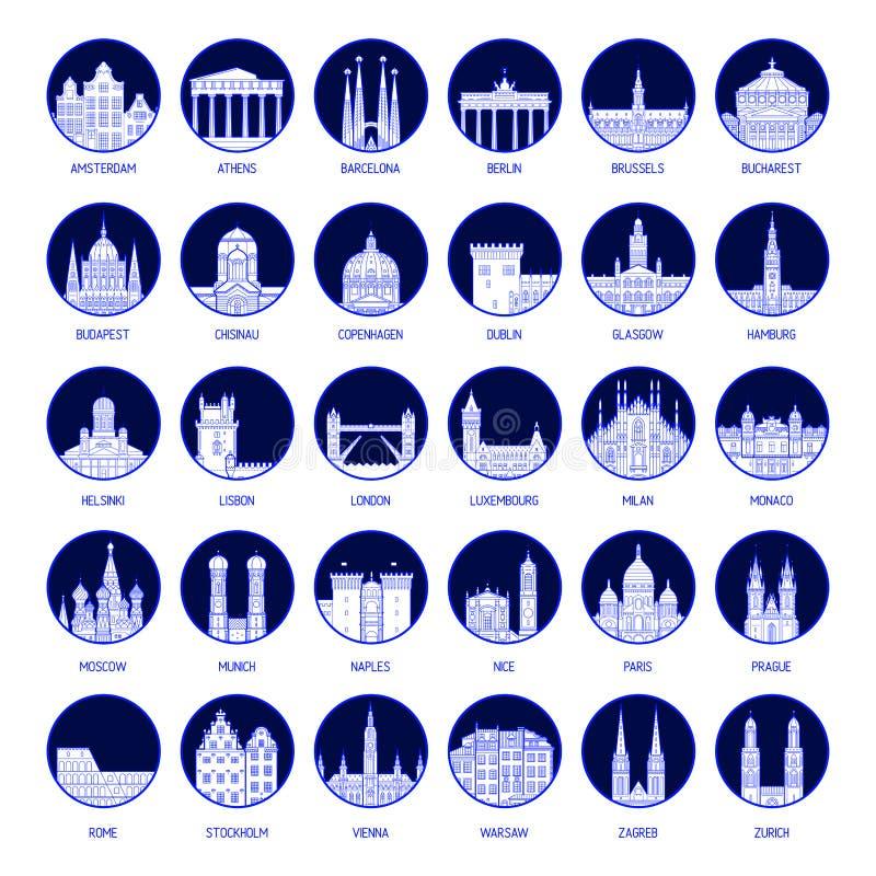 Dużych inkasowych odznak Europejscy miasta wektorowi royalty ilustracja