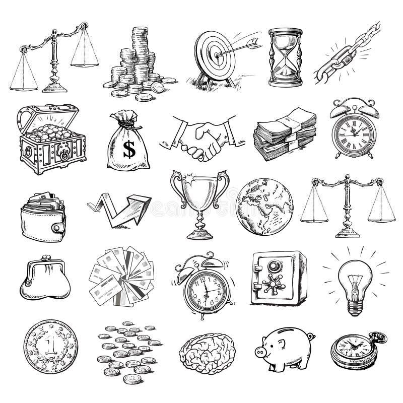 Dużych interesów symbole ustawiający Nakreślenie stylowy wektor ilustracji