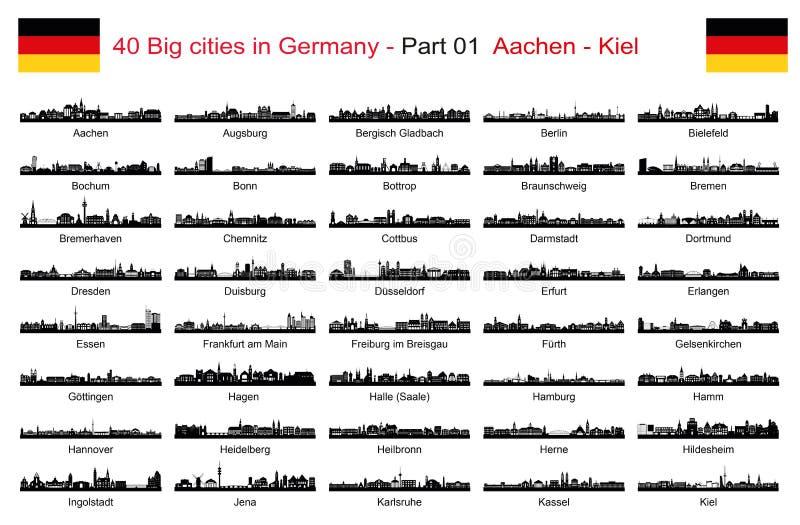 40 Dużych miast w Niemcy, Rozdzielają 01 Aachen, Kiel - ilustracji