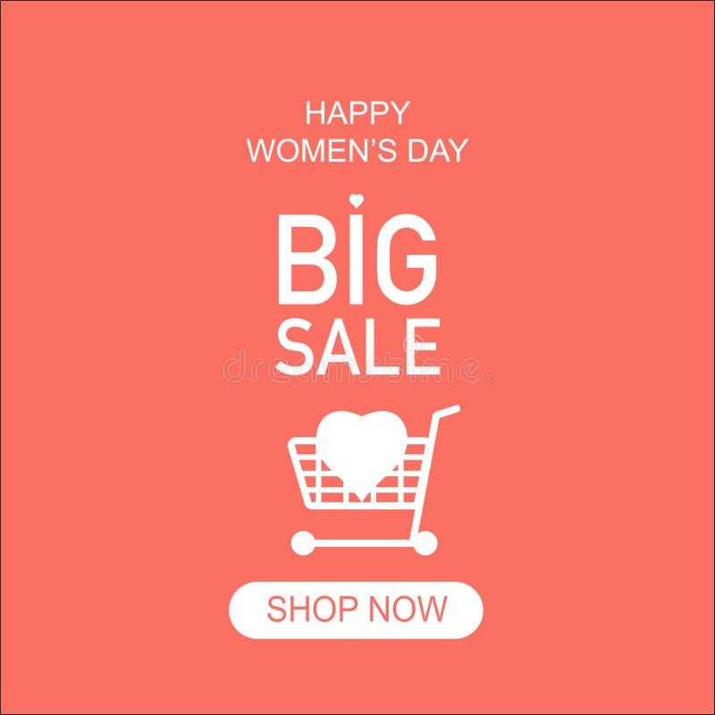 dużych sprzedaży kobiet dnia szczęśliwy sklep teraz royalty ilustracja