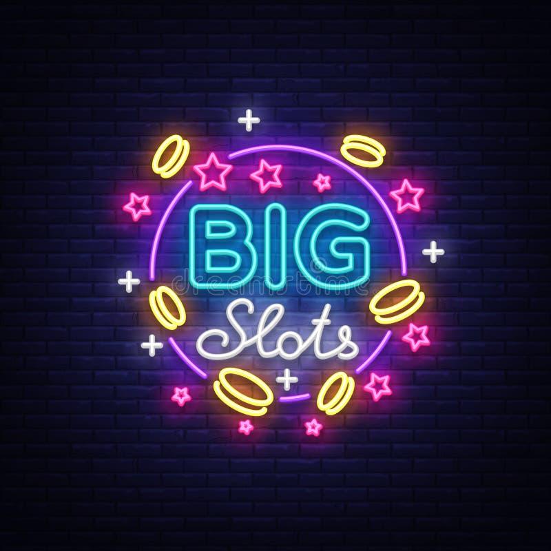 Dużych szczelin neonowy znak Projekta szablon w neonowym stylu Automat Do Gier Zaświecają loga symbol, Wygrana najwyższa wygrana, royalty ilustracja