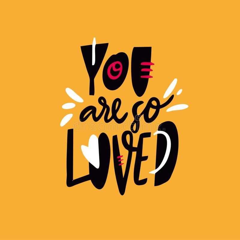Du älskas så För vektorbokstäver för hand utdraget citationstecken Tecknad filmstil Isolerat på gul bakgrund royaltyfri illustrationer