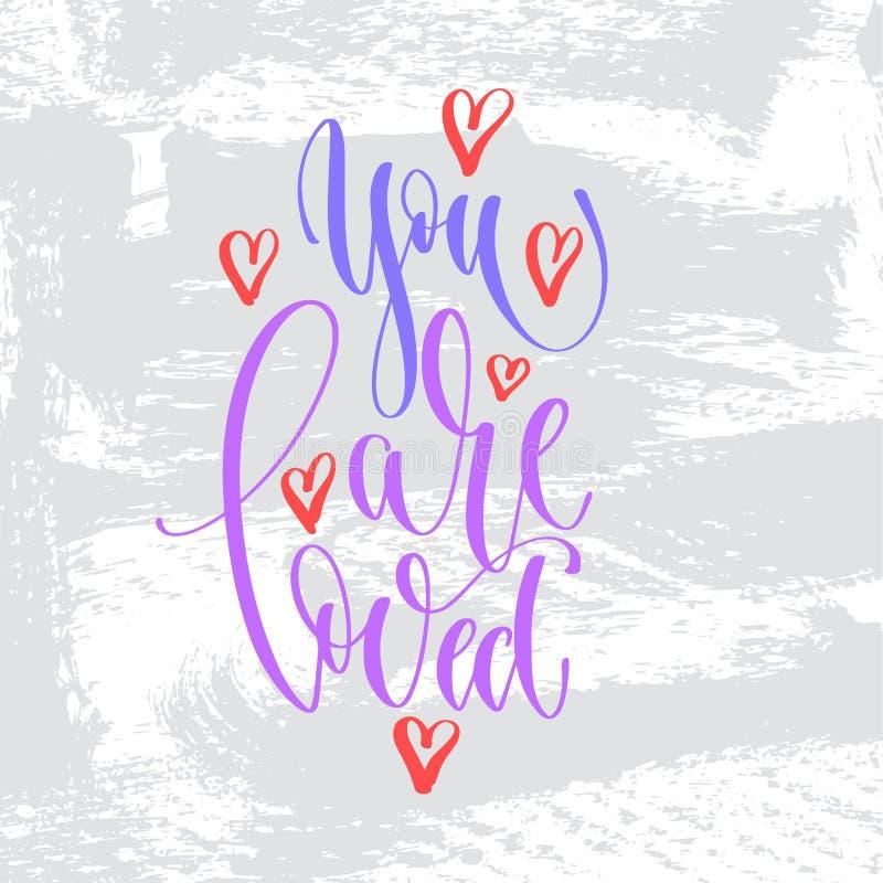 Du älskas - text för handbokstäverinskriften till valentindagen royaltyfri illustrationer