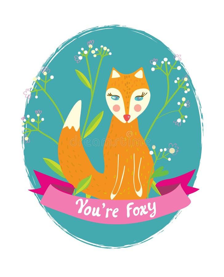 Du är det rävaktiga roliga kortet för hälsningen med blommor vektor illustrationer