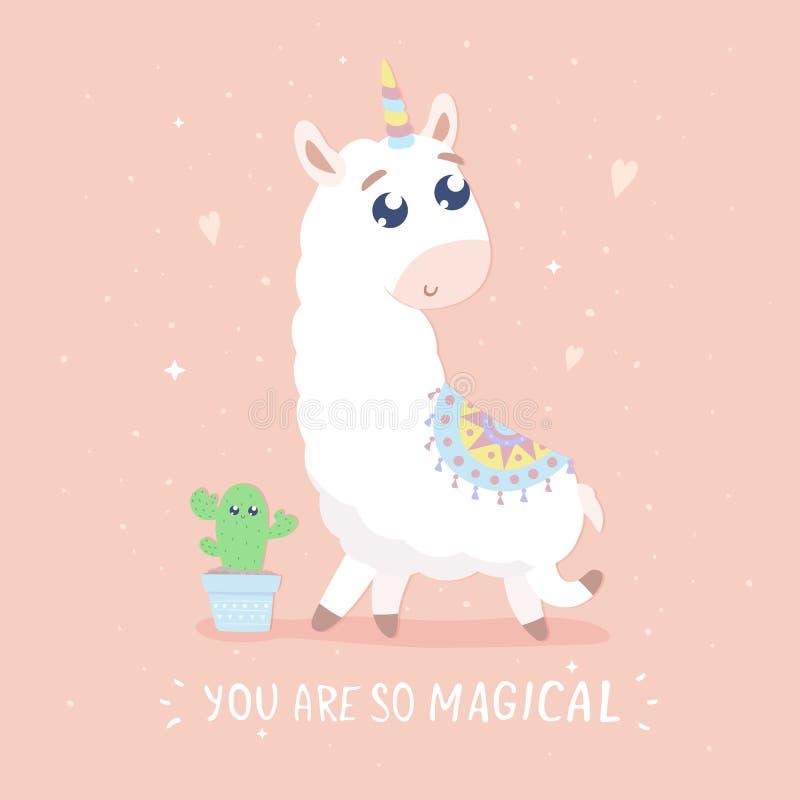 Du är det så magiska kortet Gullig tecknad filmllamacorn royaltyfri illustrationer