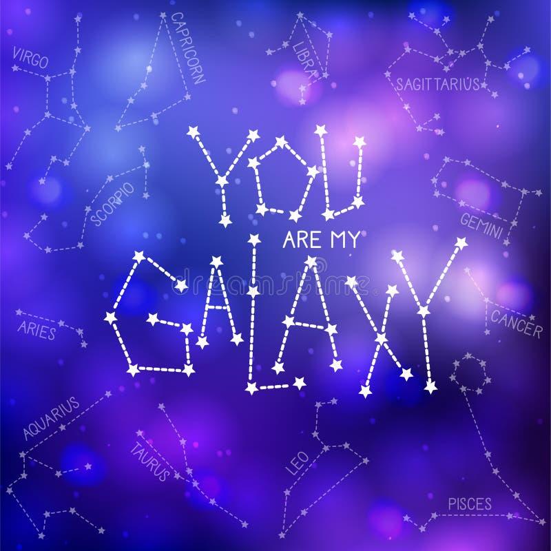 Du är min galax royaltyfri illustrationer