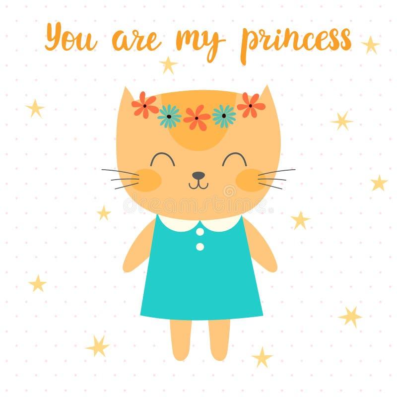 Du är min prinsessa Gullig liten pott Hälsningkort eller vykort Härlig katt med blommor vektor illustrationer