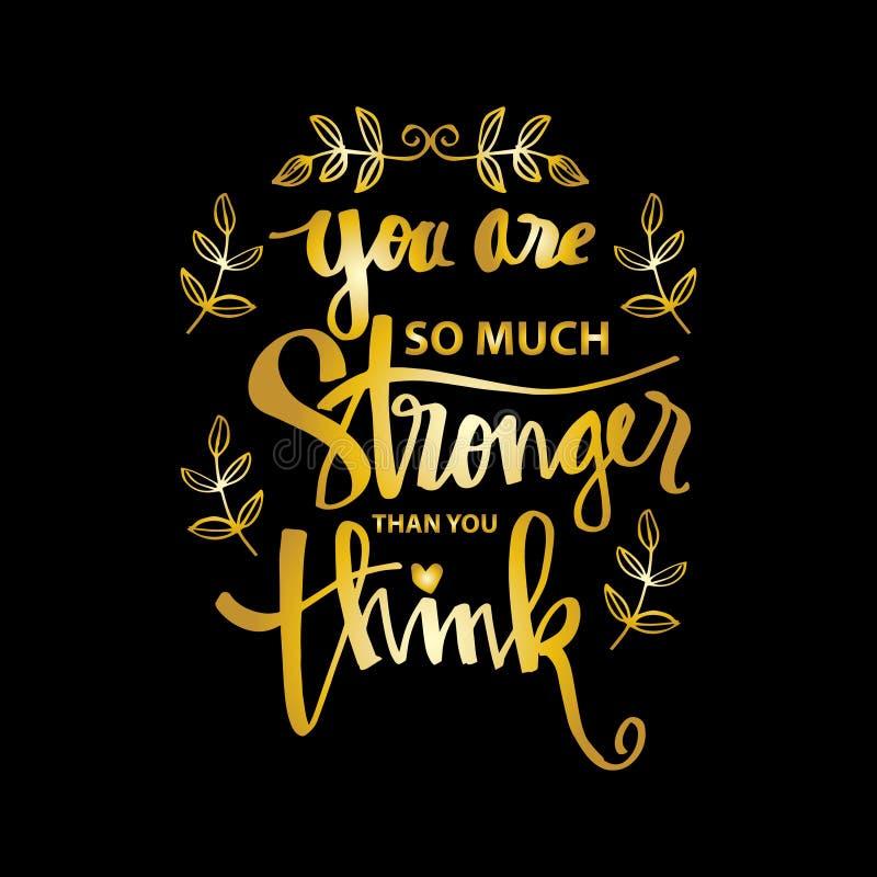 Du är starkare än dig funderaren stock illustrationer
