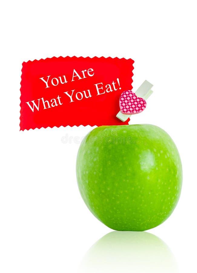 Du är vad du äter, begreppsmässig hälsa royaltyfri foto