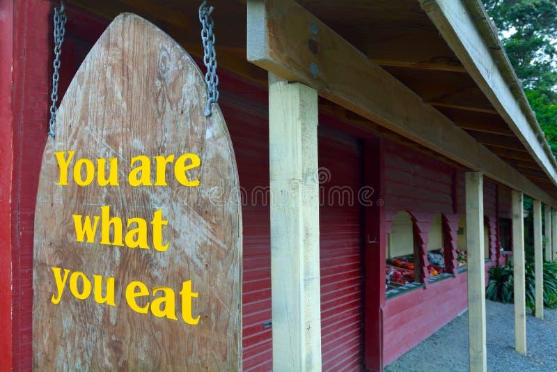 Du är vad du äter tecknet arkivbilder