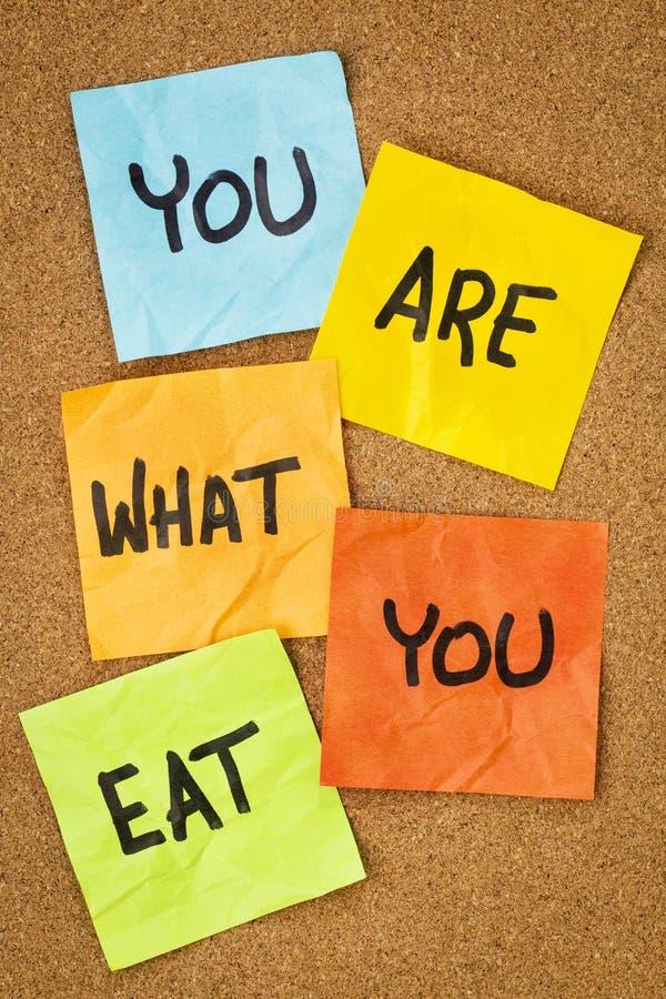 Du är vad som ska ätas royaltyfri fotografi