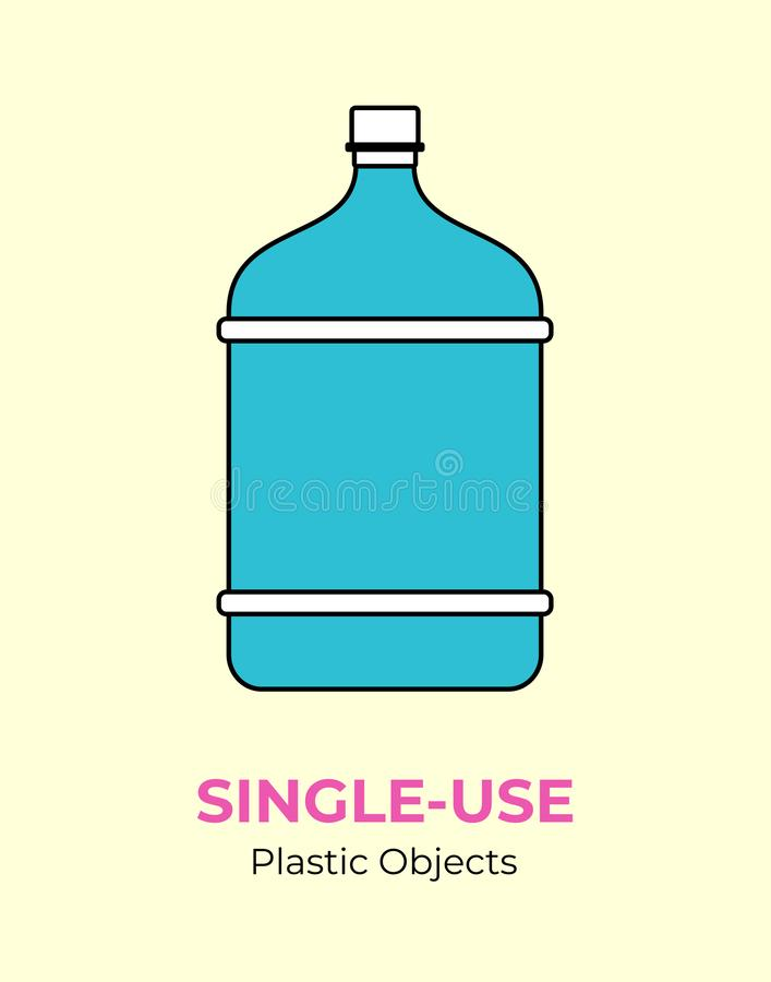 Du?a b??kitna plastikowa butelka Wektorowa ilustracja u?ywa przetwarza? plastikow? butelk? Odosobniona b??kitna du?a butelka ilustracja wektor