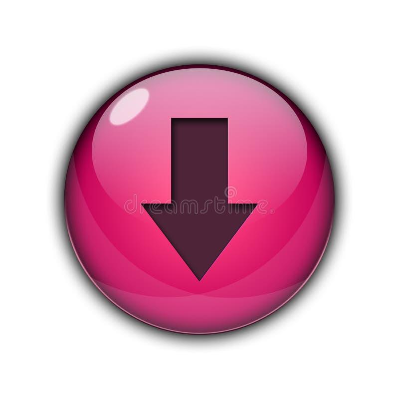 du bouton 3D d'icône couleur rose de flèche vers le bas illustration stock