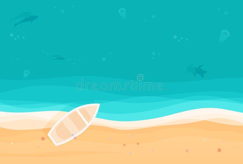 Du fond ci-dessus de vacances d'été avec le bateau sur la plage sablonneuse d'île tropicale Illustration de vecteur de vue supéri image libre de droits