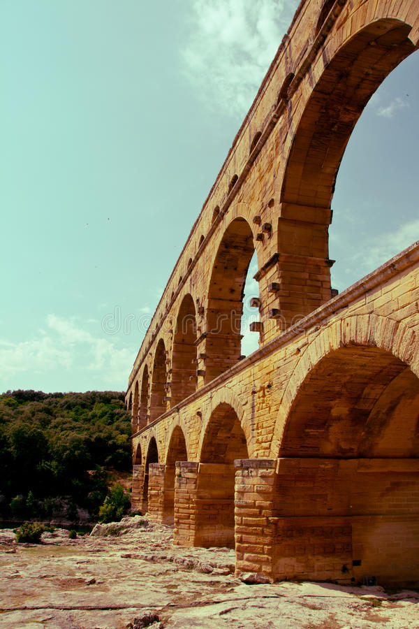 du France blisko Nimes pont Gard zdjęcie royalty free