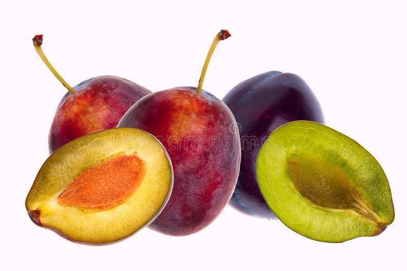 1 1/2 du fruit bleu de prune d'isolement sur le fond blanc image stock