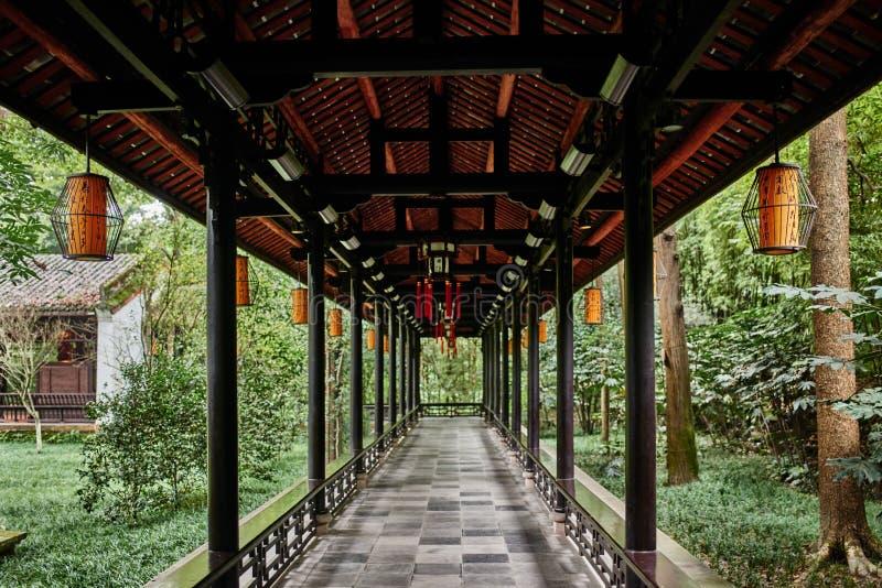 Du Fu halmtäckte stugan Chengdu Sichuan Kina arkivfoto