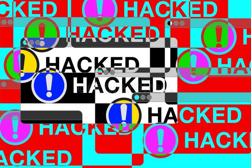 Du hackade! Mer felfönster Farasidor Utroptecken Datortekniskt fel vektordesign för dig teknologiprojekt royaltyfri illustrationer