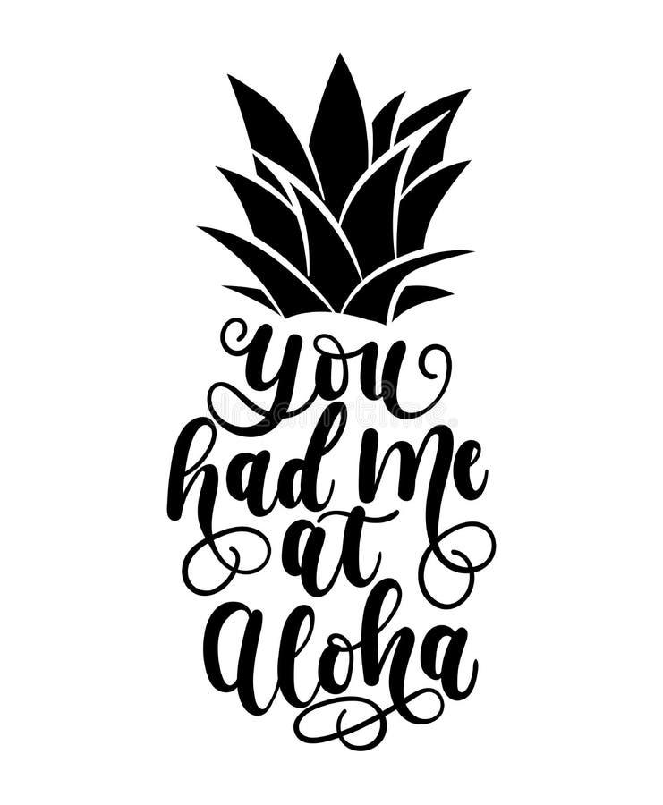 Du hade mig på aloha kortet med handen dragen bokstäver och ananas stock illustrationer