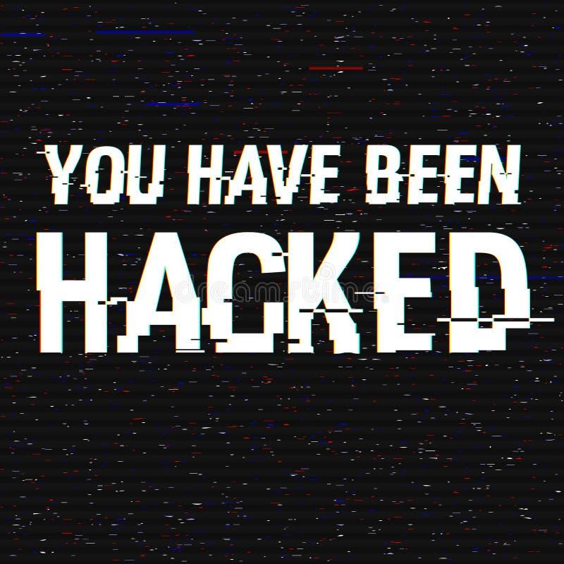 Du har varit hackad tekniskt feltext Effekt för Anaglyph 3D Teknologisk retro bakgrund En hackerattack, malware, virus stock illustrationer