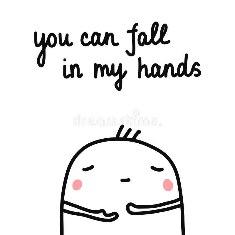 Du kan falla i mina händer räcker den utdragna illustrationen med den gulliga marshmallowen för psykologipsykoterapihjälp för att stock illustrationer
