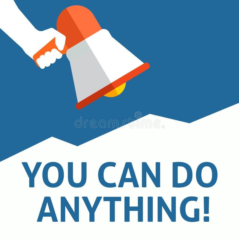 DU KAN GÖRA NÅGOT! Meddelande Hållande megafon för hand med anförandebubblan royaltyfri illustrationer