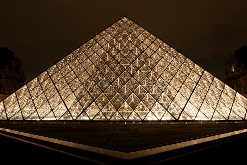 du louvre博物馆晚上金字塔 库存图片