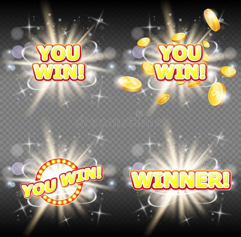 Du segrar och uppsättningen för baner för vinnarelyckönskanvektor stock illustrationer