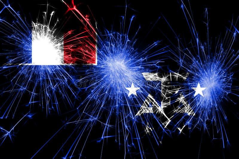 Du sud français et l'ANTARCTIQUE débarque le drapeau de scintillement de feux d'artifice Concept de nouvelle année, de Noël et de photo libre de droits