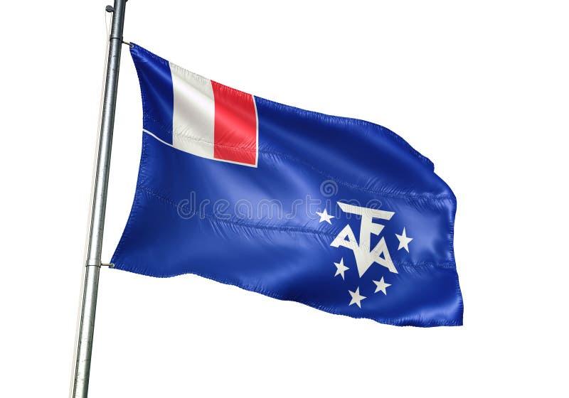 Du sud français et l'ANTARCTIQUE débarque l'ondulation de drapeau national d'isolement sur l'illustration 3d réaliste de fond bla illustration stock