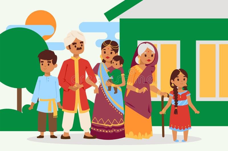 Du?a szcz??liwa indyjska rodzina w obywatel sukni wektoru ilustraci Rodzice, babcia i dziecko postacie z kreskówki, ilustracji