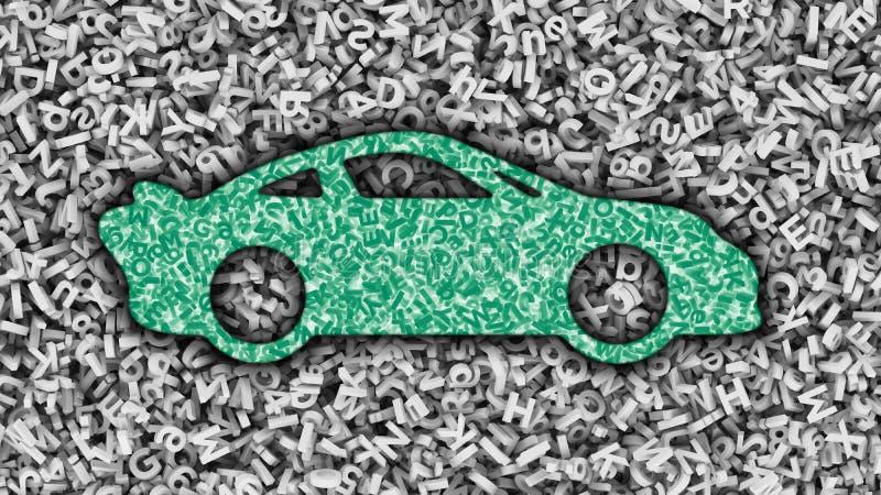 Du?y dane zastosowanie w je?d?enie samochodu poj?ciu ilustracja 3 d ilustracji