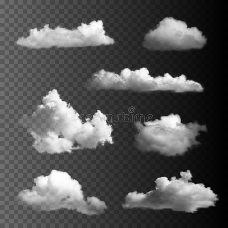 Du?y set przejrzyste chmury royalty ilustracja