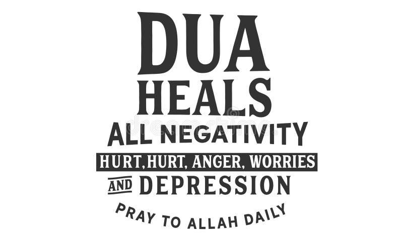 Dua愈合所有否定性、创伤、愤怒、忧虑和消沉 祈祷对阿拉日报 库存例证