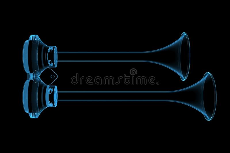 Download Dual Air Horn Xray Blue Transparent Stock Illustration - Illustration of background, isolated: 14362625