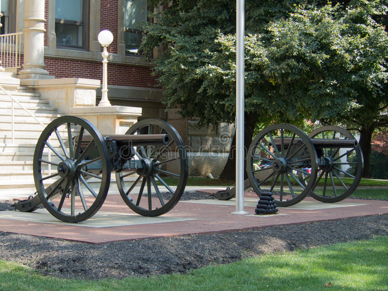 Dual Cannons. Two remounted civil war cannons on Marysville, Ohio city hall lawn stock images