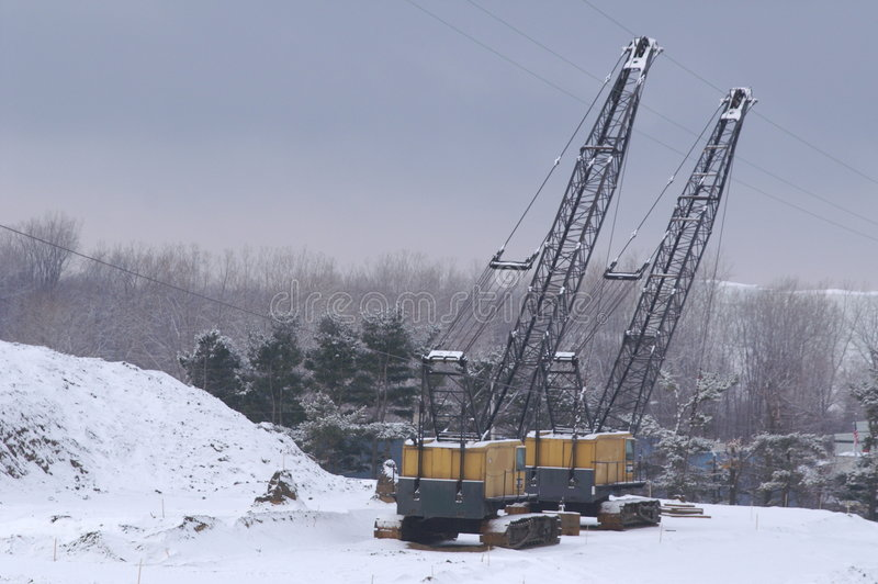 Dual Cranes royalty free stock images