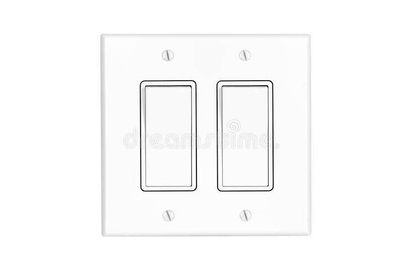 dual light switch on white royalty free stock image